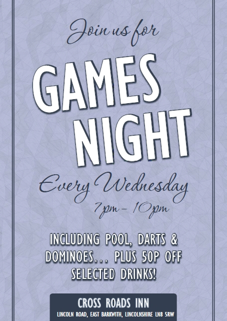 Games Night - Every Wednesday @ The Cross Roads